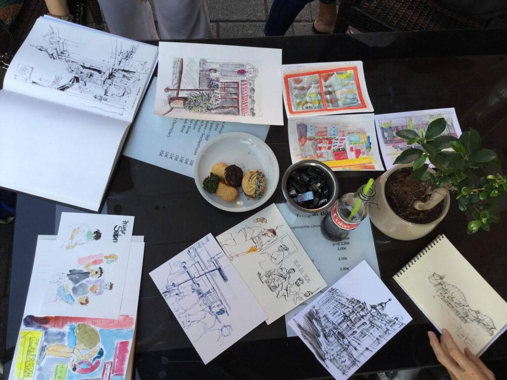 Ergebnisse vom Urban Sketching in der Wellritzstraße Wiesbaden